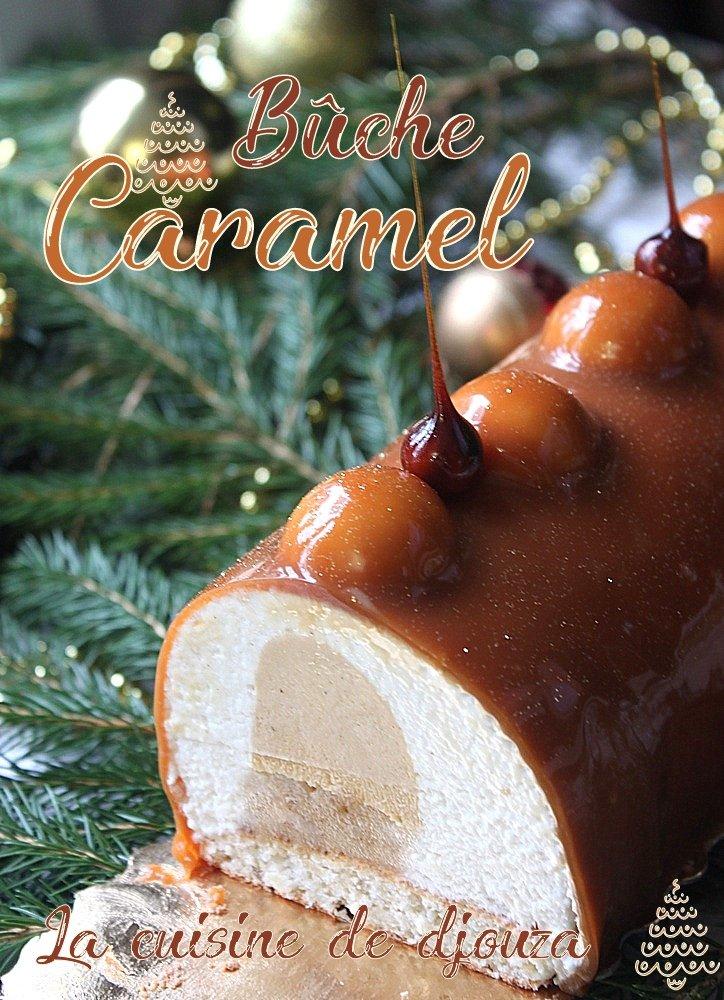 buche de noel caramel beurre salé et poires caramélisées