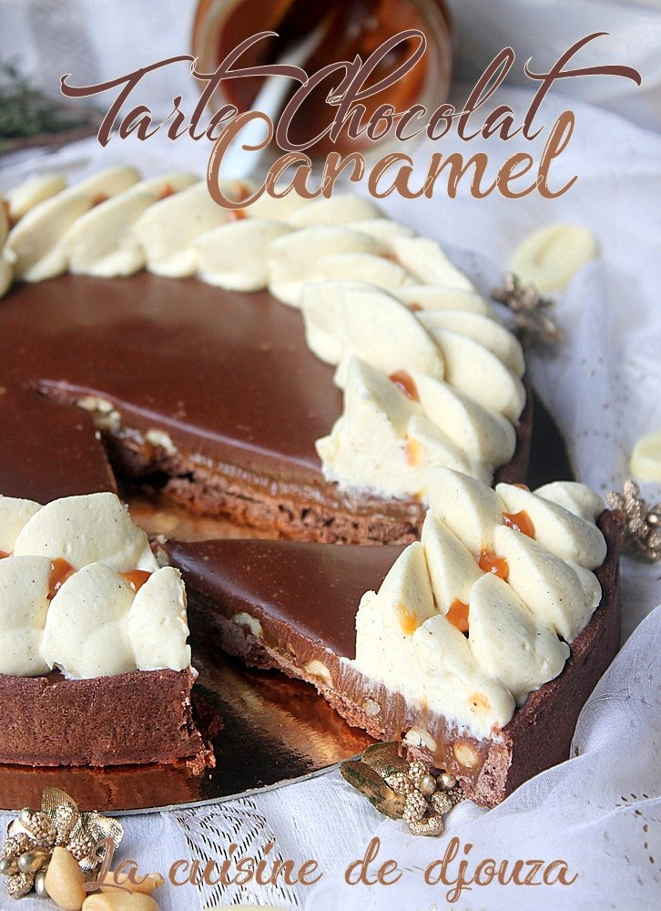 Tarte au caramel beurre salé, cacahuètes et ganache chocolat
