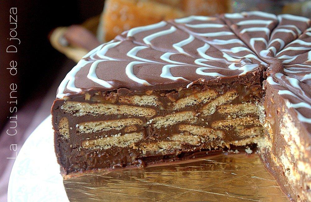 Gateau chocolat sans cuisson ganache et petit beurre