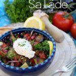 Salade chaude froide aubergines poivrons