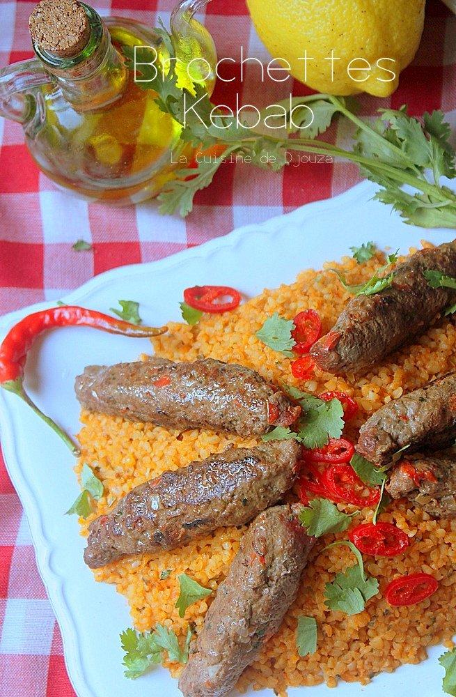 Brochette de viande hachée et boulghour turc