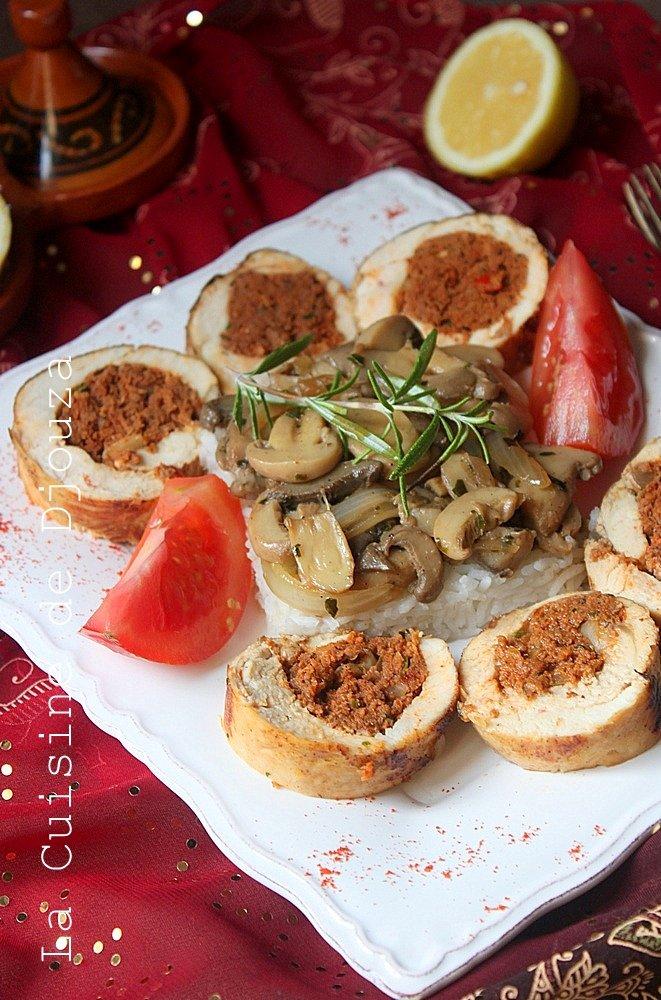 Escalope poulet roulée à la viande kefta tandoori