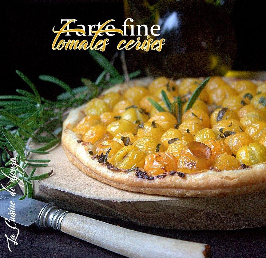 tarte fine moutarde à l'ancienne tomates cerises