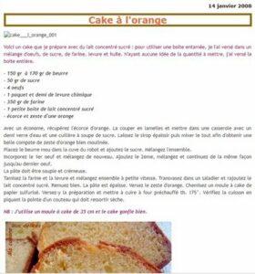 prise d'écran du cake à l'orange