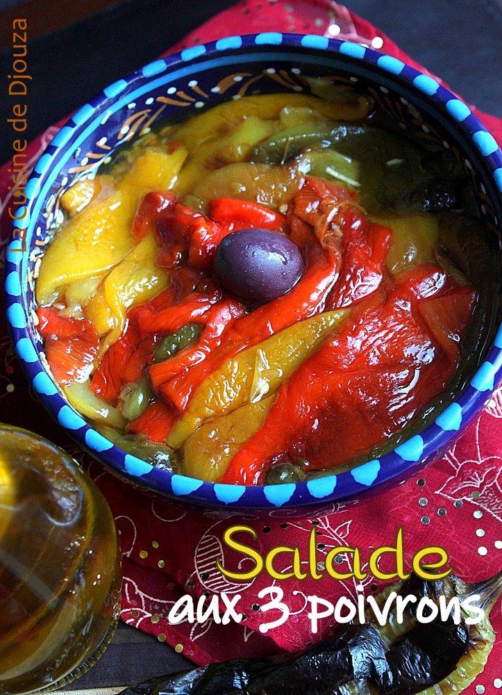 salade de poivrons colorés cuits sauce au vinaigre balsamique