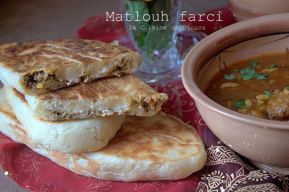 matlouh farci à la viande haché et fromage
