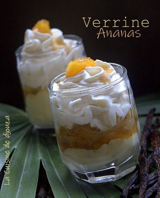 Verrine d'ananas frais caramélisée à la mousse mascarpone chantilly