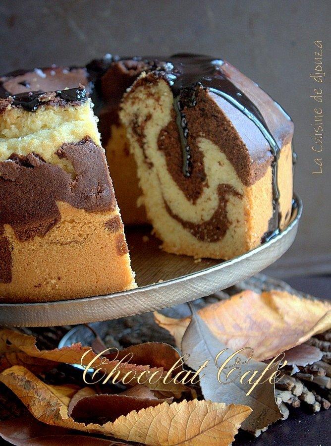 Gateau marbré chocolat et café