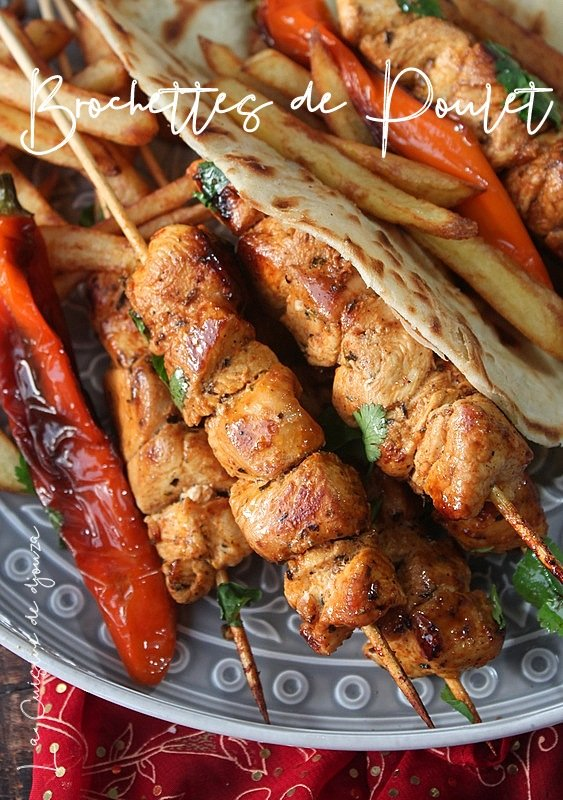 Brochettes de poulet aux épices indiennes