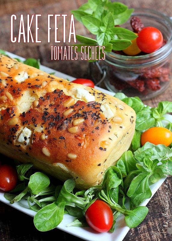 Cake tomates sechées feta et pignons de pin