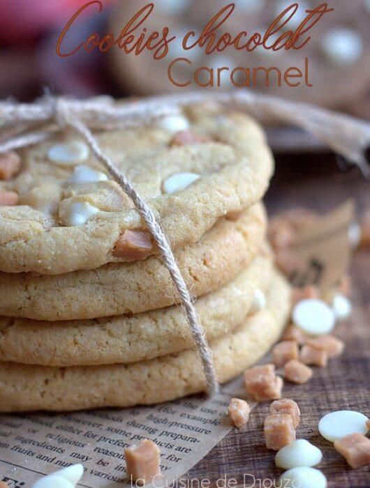 Recette cookies chocolat blanc et pépites de caramel