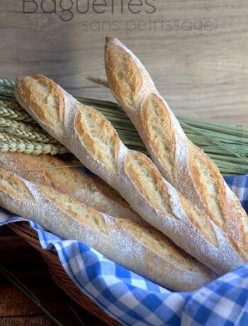 Baguette de pain sans pétrissage