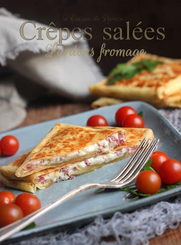 Crêpes salées fromage et lardons