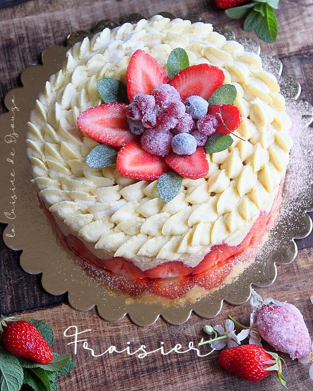Gâteau fraisier crème diplomate