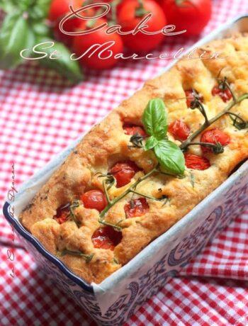 Entrée cake au st marcellin et tomates