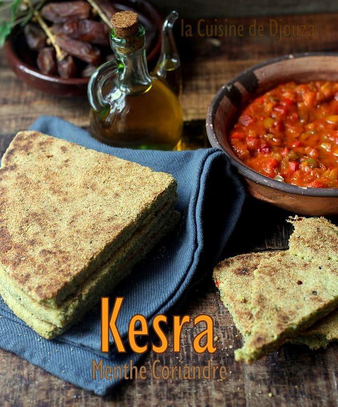 Kesra aux herbes mixées