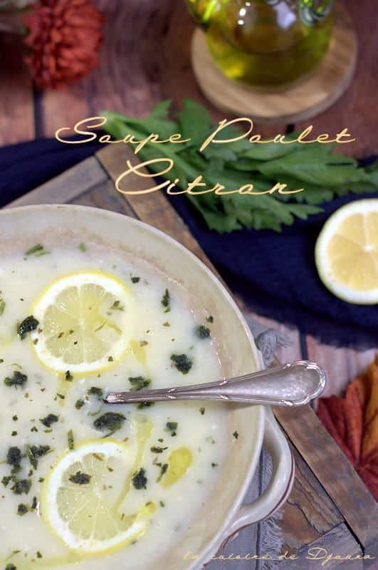 Soupe grecque de poulet au citron express