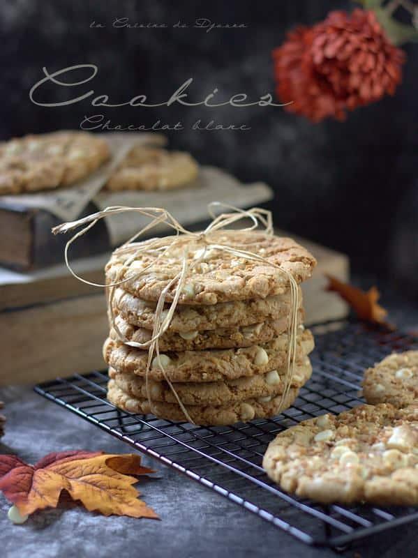 biscuits américains croustillants chocolat blanc et pralin