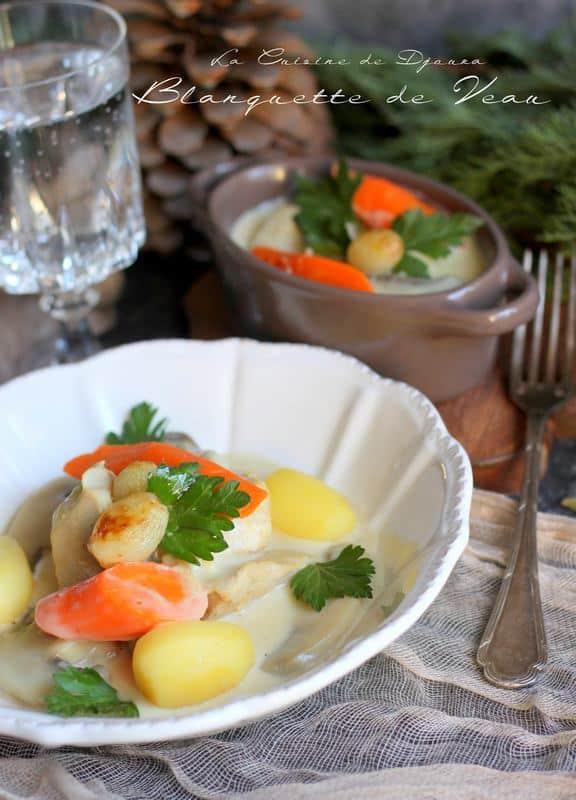 Blanquette avec pommes de terre et champignons