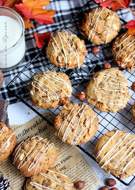 Recette de biscuits américains noisettes chocolat